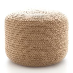 Fresh American | Fresh American Braided Natural Indoor/Outdoor Pouf | Add a dash of organic texture to your favorite spaces with this braided rope pouf. Made of durable, eco-friendly jute, its ideal for extra, space-saving seating, as an ottoman, or as an accent table.