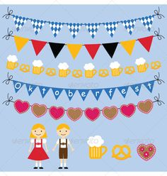 Oktoberfest vector bunting and design elements set - Seasons/Holidays Conceptual