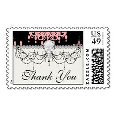 elegant pink chandelier damask on black stamps