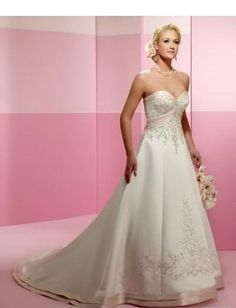 Strapless Sweetheart Neckline with Empire A line Skirt and Chapel Train BridalWedding Dress WD-0151