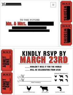 Our RSVP cards. I used a perforation blade on the dotted line next to the stubs so guests could detach their tickets before dropping the postcard in the mail.