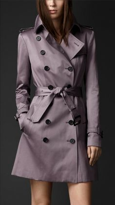 Mid-length cotton sateen Burberry trench coat in pale grape. Maybe in a life to come.