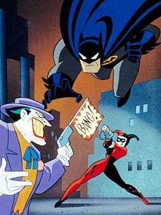 Scene from Batman: The Animated Series, featuring Harley Quinn (1992-1995 tv series).