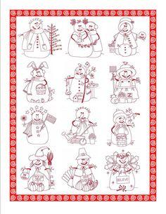 12 Snowman Quilt Blocks