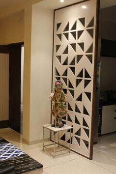 Partition space Living Room Partition Design, Pooja Room Door Design, Living Room Divider, Room Divider Walls, Room Partition Designs, Interior Design Living Room, Living Room Designs, Wooden Partition Design, Interior Modern