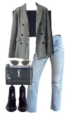 Untitled #5313 by theeuropeancloset on Polyvore featuring polyvore, fashion, style, WithChic, Alexander Wang, Yves Saint Laurent, Le Specs and clothing