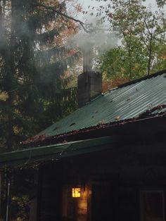 rainy day, chimney smoke
