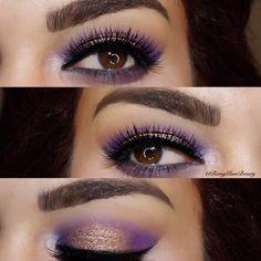 "Romina Michelle on Instagram: ""✨ Purple/Gold Glam using @natashadenona eyeshadows ✨ used the eyeshadow palette 5 smokey plum, sienna, electric violet & cream ✨ @eyelureofficial Texture lashes 157 ✨ @rccosmetics black gel liner ✨"
