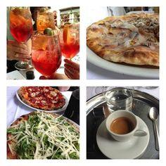 Paris: met friend at PizzaChic 4 Campari spritz, lardo pizza, artichoke pizza, spicy pizza, perfect espresso.