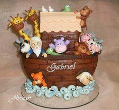 Arca de Noé - topo de bolo Noahs Ark Cake, Noahs Ark Party, Pasta Flexible, Card Tutorials, Clay Creations, No Bake Desserts, Toy Chest, Fondant, 3 D
