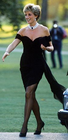 Designed by Christina Stambolian. Diana wore this dress in 1993 to the Serpentine Gallery. Black silk crepe with asymmetric ruched bodice and side sash.  $74,000.00 Purchased by Graeme Mackenzie of Gourock, Scotland  thedianadresses
