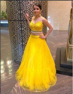 It can be customized. Buy Designer Collection Online : Call/ Whatsapp us on : Bridal Mehndi Dresses, Bridal Lehenga, Simple Dresses, Nice Dresses, Yellow Lehenga, Indian Bridesmaids, Party Wear Lehenga, Engagement Dresses, Elegant Saree