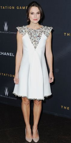 White Chanel dress with beaded neckline