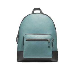 fa82f90fa8af COACH F27287 Men's West ColorBlock Backpack bookpack Leather Traveler Slate  NWT