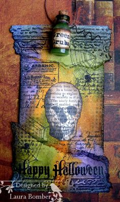 Laurart: Textured Halloween Tag for Our Creative Corner using TH/Ranger products; Oct 2013
