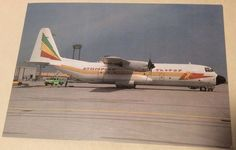 Postcard Ethiopian Airlines Lockheed 100-30 Hercules Prop Plane Africa Photo
