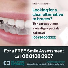 Looking for a clear alternative to #braces? To hear about our #Invisalign specials, call us at (08) 9468 3322 / www.drdowning.com.au #drdowning #carolinedowning #australia #dentalpractice #cosmeticdentistry#dentaljob #dentistryservices #dentalimplants #zoomwhitening#dentalcare #dental filler #tmj #preventive #dentalcare #cosmetic #dentist#SmileDocs #NeutralBay #MakeTheClearChoice
