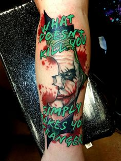 Joker Heath Ledger Dark Knight DC Comics Tattoo by Steve Rieck from Las Vegas, NV