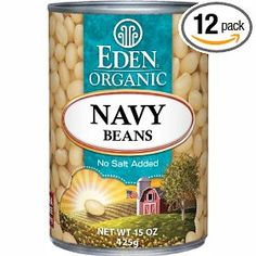 Eden Organic Navy Beans, No Salt Added, 15-Ounce Cans (Pack of 12) $21.12