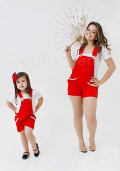 """""""Aren't Mommy and I cute in our short red overalls? Mother Daughter Pictures, Mother Daughter Fashion, Fashion Kids, Toddler Fashion, Mom Daughter Matching Dresses, Matching Family Outfits, Mom And Baby Outfits, Cute Outfits, Mom Dress"""