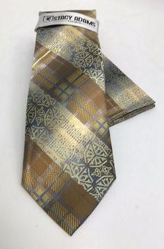Stacy Adams Tie & Hanky Set Yellow Gold Mustard Silver Charcoal Plaids Men's #StacyAdams #Set