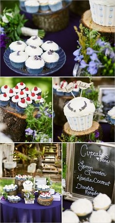 an incredible cupcake table - this would be fun to have at any party!  Love the plants!