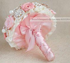 Coral Brooch Bouquet Wedding Bouquet Bridal by TatyanaAgulina