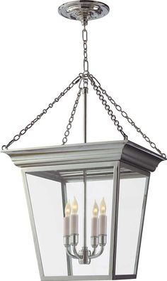 """small cornice hanging lantern  item # SL5871    Fixture Height (to where the four chains meet): 21"""" *  Minimum Overall Height: 27""""  Width: 14 1/2""""  Polished Nickel  $840"""