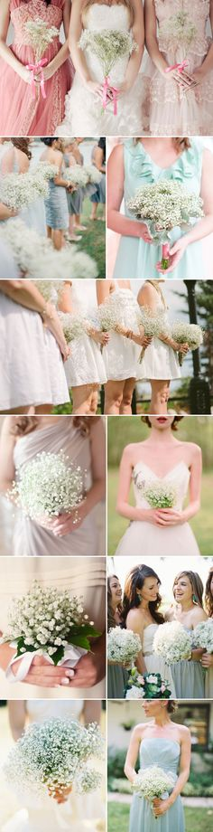 "Delicate, Airy, and dreamy, baby's breath (gypsophila) is no longer just a ""filler flower"", it's been popping up everywhere in weddings, from centerpieces to ceremony decoration, to bridal bouquets.  Baby's breath is budget-friendly, readily-available year-round, long-lasting, and it can be used to match any wedding theme, from a rustic backyard to an elegant ballroom"