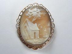 Terrific Antique English 9K Gold Shell Cameo Brooch Pin Pendant Farm Scene    C.1890