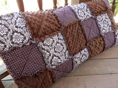 Hey, I found this really awesome Etsy listing at http://www.etsy.com/listing/130460140/brown-damask-king-size-rag-quilt-pillow