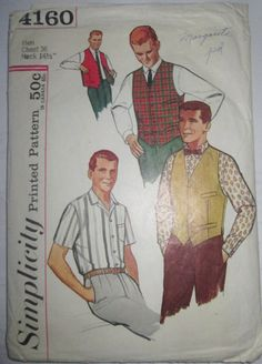 ○1953 Vintage Sewing Pattern for a Mens Shirt, Vest and Reversible Vest. CUT/Complete. Chest 36, Neck 14 1/2. Instructions included. Envelope worn