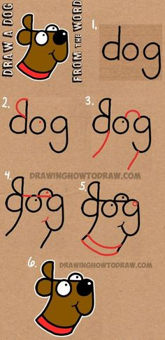 How to Draw a Dog from The Word Dog – Easy Step by Step Drawing Tutorial for Kids Cómo dibujar un perro de The Word Dog – Tutorial de dibujo fácil paso a paso para niños How To Draw Steps, Learn To Draw, How To Draw Kids, How To Draw Art, Learning To Draw For Kids, Learn Art, Teaching Kids, Drawing Tutorials For Kids, Drawing Tips