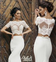 Sexy Two Pieces Mermaid Wedding Dresses Lace Bateau Neck Short Sleeve Sheer Illusion Garden Satin Mermaid Wedding Bridal Gowns Custom Online with $109.3/Piece on Hjklp88's Store