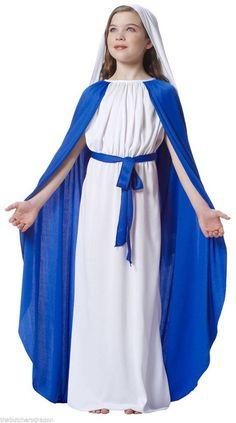 Girls Childs Virgin Mary Costume Nativity Christmas Childrens Fancy Dress 7-9 320.95