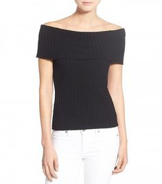 Olivia Palermo + Chelsea28 Rib Knit Off the Shoulder Sweater