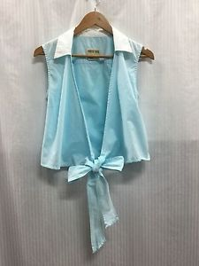 Country-Road-Woman-039-s-Size-XS-Fits-Size-8-Light-Blue-White-Collar-Cotton-Vest