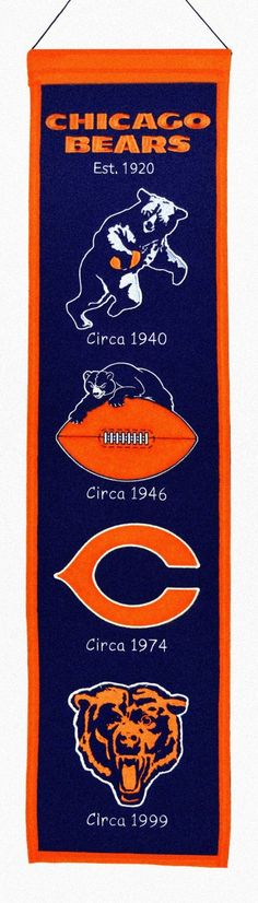 """Chicago Bears 8""""x32"""" Wool Heritage Banner"""