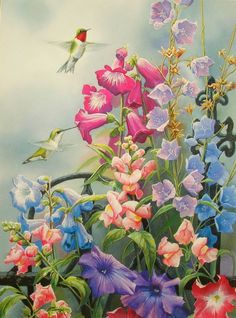 Victorian Season Summer Hummingbird Flower
