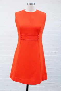 Vintage 1960' Mod Orange Princess Seam Dress // sleeveless cap sleeve // scooter space age swinging 60's // 70's courreges twiggy
