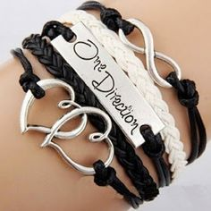 EmBest Antique Silver Charm One Direction Infinity Heart Braided Black cord Leather Mixed Bracelet Wristbands Xmas Gift Material:Suede rope & alloy,Leather Inspired by One Direction Gender:Unisex Great gift for holidays x bracelet One Direction Merch, One Direction Outfits, One Direction Facts, Layered Bracelets, Braided Bracelets, Bangle Bracelets, Infinity Bracelets, Strand Bracelet, Leather Bracelets