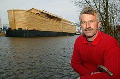 Johan Huibers sits near his 70-metre-long Noah's Ark replica.