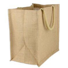 "Burlap Euro Shopping Bag 15.5"" x 13.75"" x 6"" ."