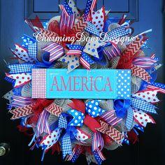 America Patriotic Burlap Mesh Wreath by CharmingDoorDesigns on Etsy
