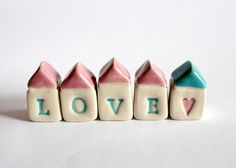 LOVE Little House Village - pink blue white