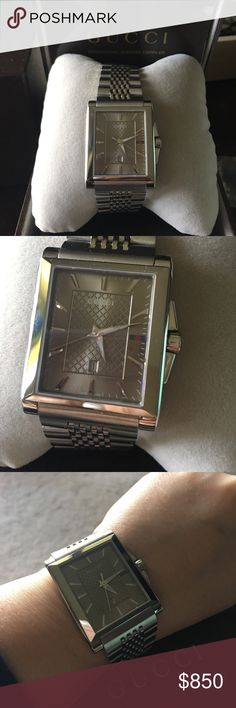 """Authentic Gucci Rectangular G-Timeless Watch This Authentic Gucci watch is gorgeous with the Sunray Brown Dial and date window. Had it sized to fit a 6 1/2"""" wrist but have the extra links. I've had this for a month and absolutely love it but the face is just a little big for my tiny wrist. It's so comfortable with the stainless steel band and butterfly clasp. Sapphire crystal on the dial. Have the original box and warranty card. Stunning!! Will consider offers. Gucci Accessories Watches"""