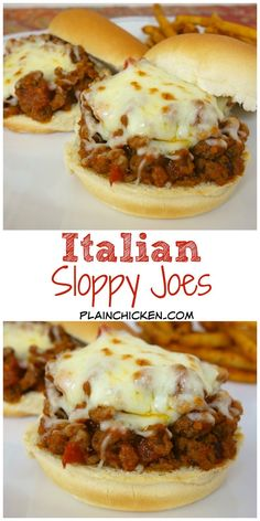 Italian Sloppy Joes – Plain Chicken Italian Sloppy Joes recipe – combination of hamburger and sausage simmered in spaghetti sauce – top with mozzarella cheese. My favorite sloppy joe recipe! Ready in 15 minutes! Paninis, Meat Recipes, Cooking Recipes, Venison Recipes, Lunch Recipes, Sandwiches, Sloppy Joes Recipe, Soup And Sandwich, Ground Beef Recipes