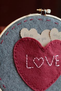 Embroidery Hoop Art Handembroidered Felt Heart by CatshyCrafts, $35.00
