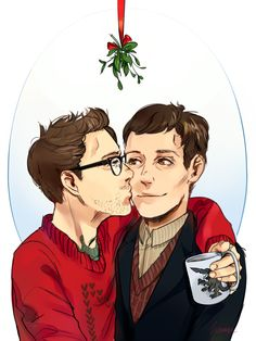 Newton Geiszler kissing Hermann Gottlieb under the mistletoe #NewtonGeiszler #HermannGottlieb #Newmann #Mistletoe #Christmas #Kiss #PacificRim
