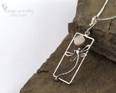 Dragonfly Pendant Sterling Silver Modern Minimalist Neutral Gray Pink